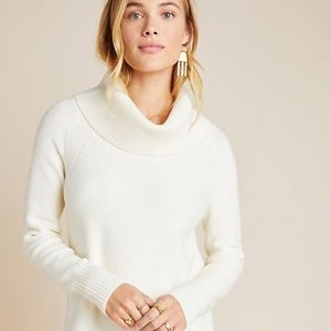 Anthro Ivory White Turtleneck Cowl Neck Sweater S